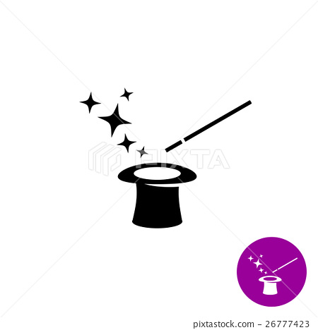 Magic wand with magician hat and stars black logo 26777423