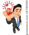 3D Businessman drawing a light bulb. Idea concept 26780085