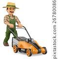 3D Gardener pushing a power mower 26780086
