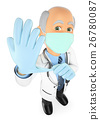 3D Surgeon adjusting gloves to operate a patient 26780087