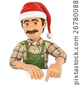 3D Gardener pointing down with a Santa Claus hat 26780088