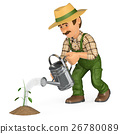 3D Gardener watering a small plant. Growth concept 26780089