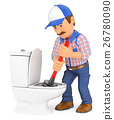 3D Plumber unclogging a toilet with a plunger 26780090