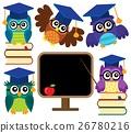 学校 猫头鹰 程式化 26780216