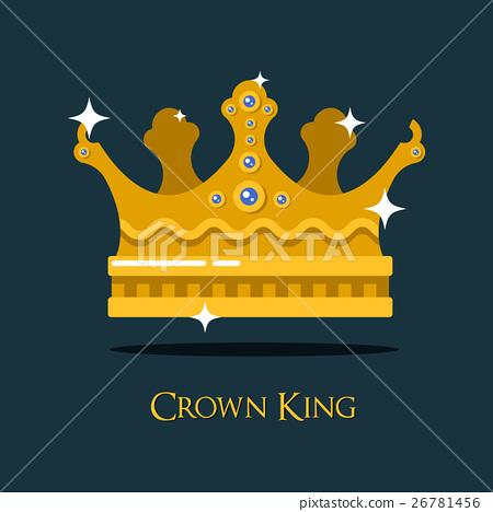 Crest or king, queen golden crown. 26781456