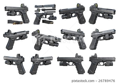 Gun weapon black military pistol set 26789476