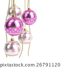 glossy pink christmas bulbs isolated on white 26791120