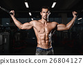 man with weight training in gym equipment sport 26804127