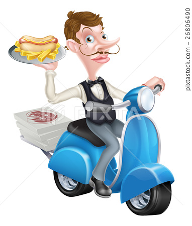 Cartoon Waiter on Scooter Moped Delivering Hotdog 26806490