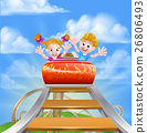 Cartoon Theme Park Roller Coaster 26806493