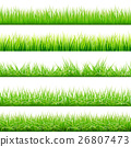 5 Backgrounds Of Green Grass, Isolated On White 26807473