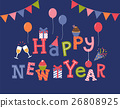 Happy new year invitation card design. 26808925