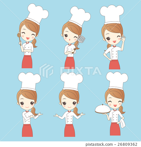 Cartoon young woman chef 26809362
