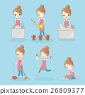 Girl is busy house cleaning 26809377