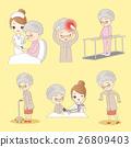 cartoon old man do rehabilitation 26809403