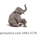 young baby elephant sit down to show 26811578