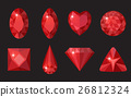 Red gems set. Jewelry, crystals collection 26812324