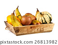 Isolated basket full of autumn fruits 26813982