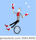Mime winter preformance on unicycle 26814692