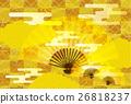日本模式的黃金和折疊背景材料 26818237