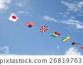 운동회의 만국기와 푸른 하늘 26819763