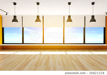 Empty room and parquet floor with lamps 26821328