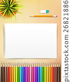 Top view of stationary blank paper and color 26821886