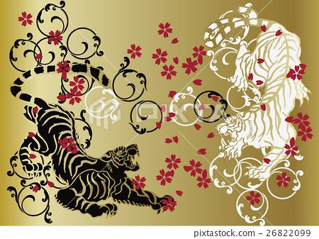 Japanese Pattern Tiger Stock Illustration 26822099 Pixta
