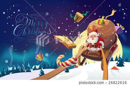 Santa in a Winter village. Merry Christmas Card 26822616