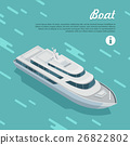 Boat Sailing in Sea. Cruise Liner Passenger Ship 26822802