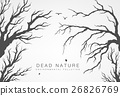 dried tree branches with birds  26826769