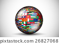 Flags of all countries in the 3d ball with shadows 26827068