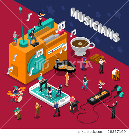 Musicians People Isometric Composition 26827169