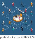 Martial Arts Isometric People Flowchart 26827174