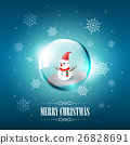 Merry Christmas with Snowman in glass sphere 26828691