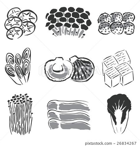 Pot food ingredients illustration ink 26834267
