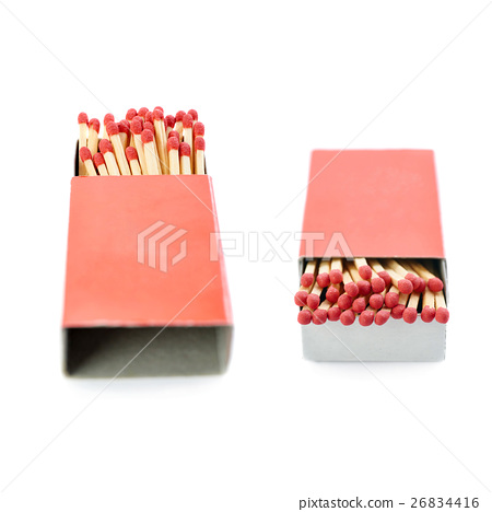 Set of Pile of Wooden matches isolated over the 26834416