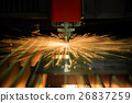 Cutting of metal. Sparks fly from laser 26837259