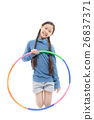 Portrait happy Asian child girl playing hulahoop 26837371