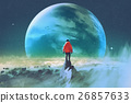 man on top of mountain looking at another planet 26857633