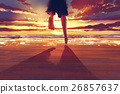 man feet running on the beach at sunrise 26857637