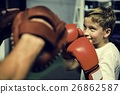 Boy Boxing Training Punch Mitts Exercise Concept 26862587