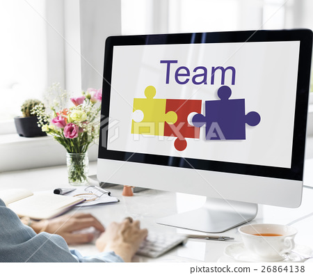Jigsaw Puzzle Team Building Support Graphic Concept 26864138