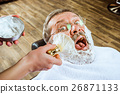 The senior man visiting hairstylist in barber shop 26871133