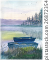 Watercolor boat on the river 26872354