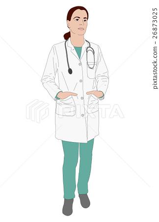 female doctor standing illustration 26873025