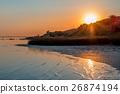 Sunset on sea beach 26874194