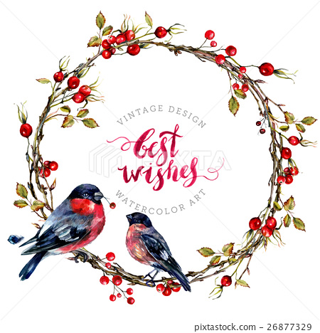 Watercolor Christmas Wreath With Bullfinches Stock Illustration