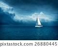White Yacht Sailing in Stormy Sea. Dark Photo. 26880445