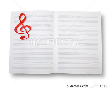 Empty book with pentagrams or score. 26881649